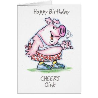 """oink"" feliz cumpleaños tarjeta de felicitación"