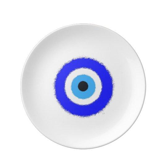"Ojo azul afortunado 8,5"" placa decorativa de la plato de porcelana"