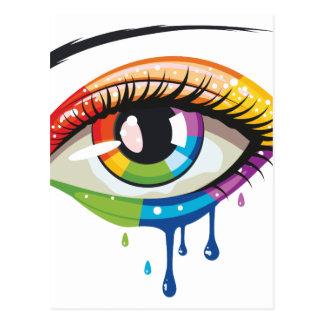 Ojo de los colores del arco iris postal