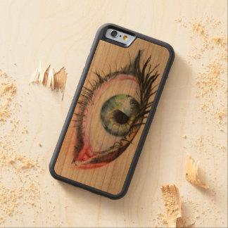ojo de madera de la caja de la cereza de funda protectora de cerezo para iPhone 6 de carved