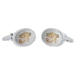 Ojo de oro de Horus - vínculos de puño de plata Gemelos Plateados
