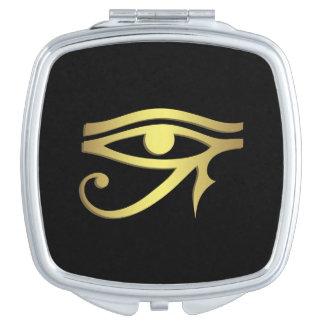 Ojo del negro egipcio del símbolo del horus espejo de viaje