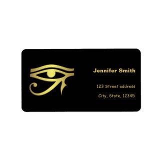 Ojo del símbolo del egipcio del horus etiqueta de dirección
