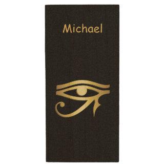 Ojo del símbolo del egipcio del horus memoria USB de madera