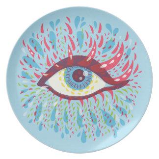 Ojo psicodélico azul extraño abstracto plato