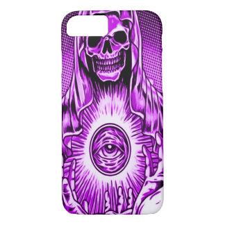 Ojo púrpura malvado del cráneo de Skully Funda iPhone 7