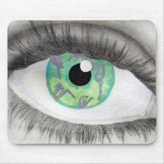 Ojo verde con las siluetas del bailarín en iris alfombrilla de ratón
