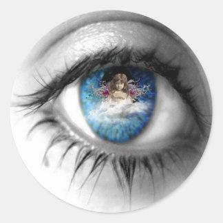 Ojos al alma pegatina redonda