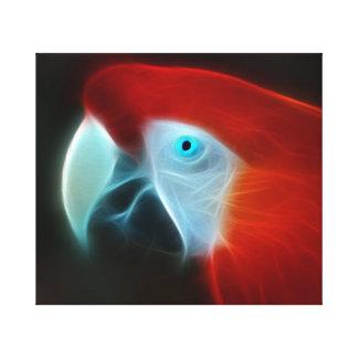 Ojos azules del loro rojo del fractal lienzo