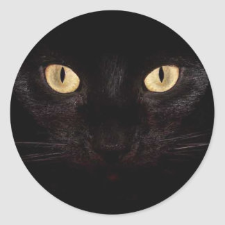 Ojos de gato negro pegatina redonda