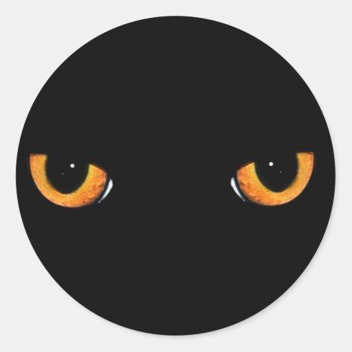 Ojos de gato pegatina redonda