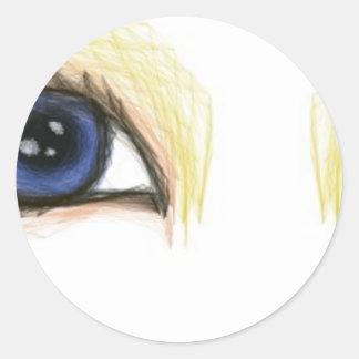 ojos de la tela pegatina redonda