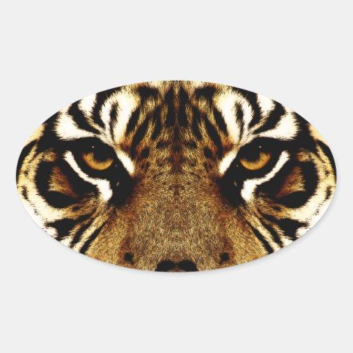 Ojos de un tigre calcomania de óval