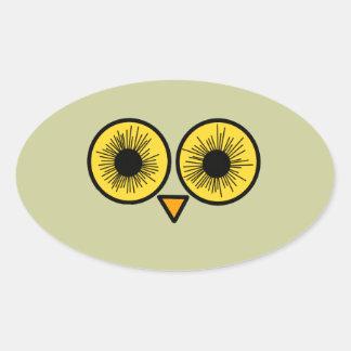 Ojos del búho pegatina ovalada