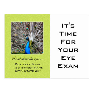 Ojos del pavo real del recordatorio de la cita del tarjeta postal
