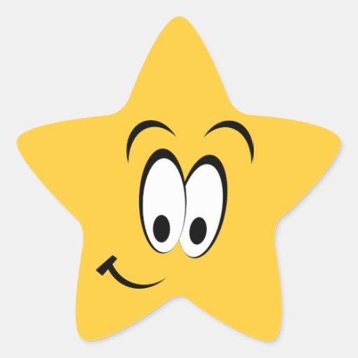 Ojos felices y sonrisa pegatina forma de estrella