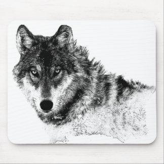 Ojos inspirados blancos negros del lobo alfombrilla de ratón