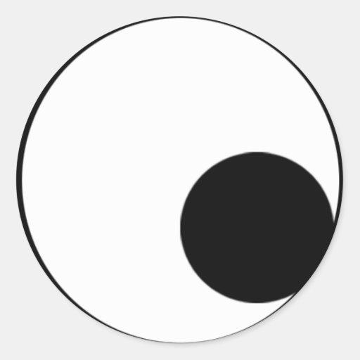 Ojos que miran abajo de la derecha etiqueta redonda