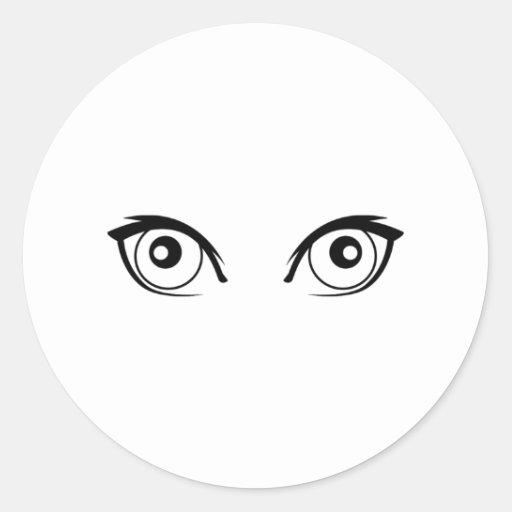 Ojos que miran fijamente etiqueta redonda