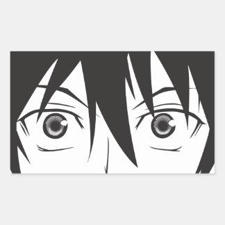 Ojos sorprendidos pegatina rectangular