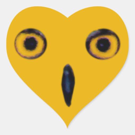 Ojos viejos sabios del búho calcomania corazon