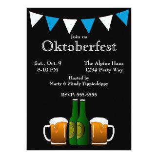 Oktoberfest con las banderas invitación 13,9 x 19,0 cm