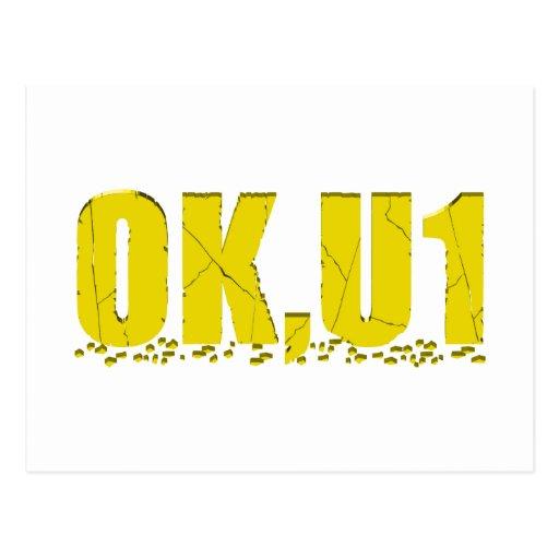 OKU1 en amarillo Tarjetas Postales