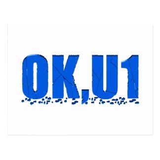 OKU1 en azul Tarjetas Postales