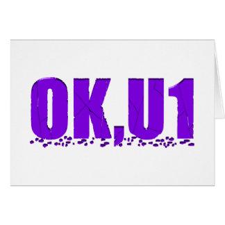 OKU1 en púrpura Tarjeta De Felicitación