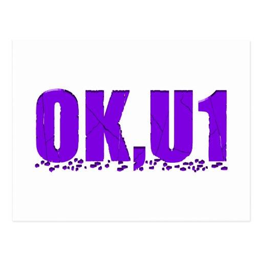 OKU1 en púrpura Postales