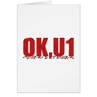 OKU1 en rojo Tarjeta De Felicitación