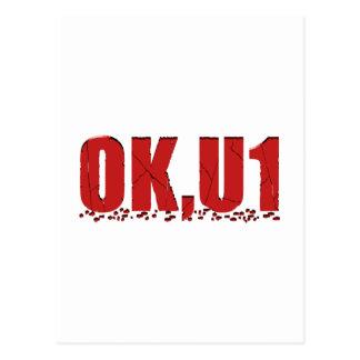 OKU1 en rojo Tarjeta Postal
