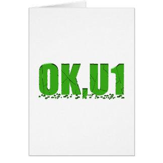 OKU1 en verde Tarjeta De Felicitación