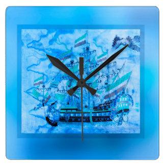 Olas oceánicas náuticas del barco pirata azul reloj cuadrado