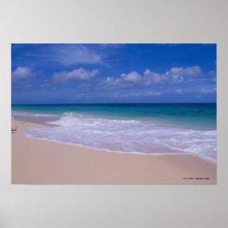 Olas oceánicas que hacen espuma sobre la playa póster
