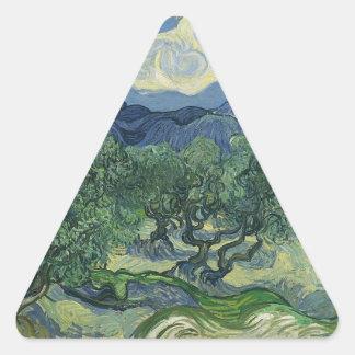 Olivos con el Alpilles en el fondo Pegatina Triangular