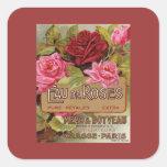 Olor de Eau De Roses french Calcomanías Cuadradass Personalizadas