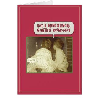 Olor divertido del reno del navidad tarjeta