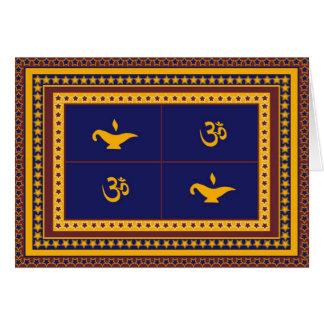 OM, lámpara, y tarjeta de felicitación de Diwali d