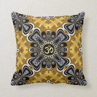 Om Spritiual Art Gold Splash Cushion Pillows