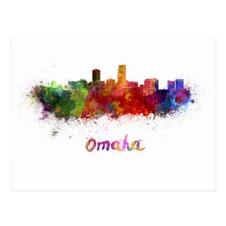 Omaha skyline in watercolor postal