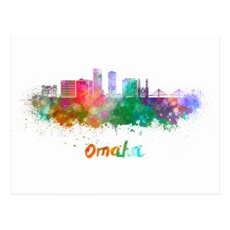 Omaha V2  skyline in watercolor Postal