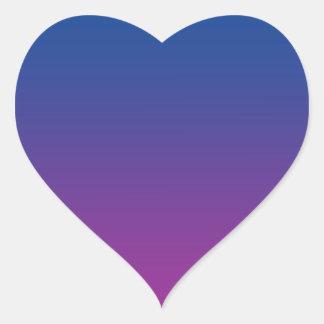 Ombre azul marino y púrpura pegatina en forma de corazón