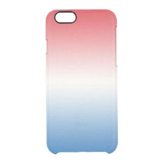 Ombre blanco y azul rojo funda clearly™ deflector para iPhone 6 de uncommon
