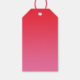 Ombre rojo y rosado etiquetas para regalos