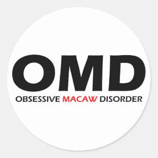 OMD - Desorden obsesivo del Macaw Pegatina Redonda
