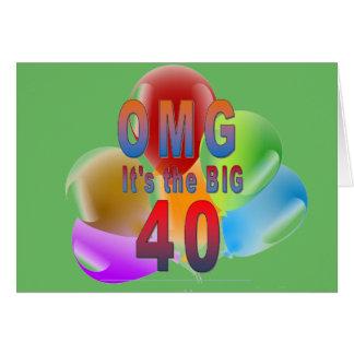 OMG el feliz cumpleaños 40 grandes Tarjeta De Felicitación