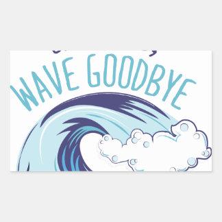 Onda adiós pegatina rectangular