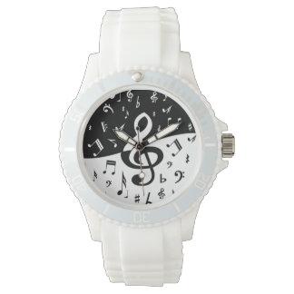 Onda elegante del Clef agudo blanco y negro Relojes De Mano