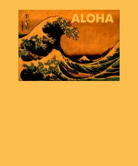 Onda japonesa de la hawaiana camisetas